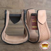 U-T101 Hilason Western Saddle Tan Leather Covered Horse Saddle Stirrups Pair - $64.95