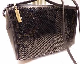 Vintage Whiting & Davis Black Metal Mesh & Leather Shoulder Bag Cross Body - $31.68