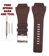 24mm Brown Leather Watch Band Strap Fit For Diesel DZ1267 Watches DSL162 - $38.61