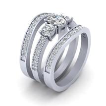 Three Stone Diamond Bridal Wedding Ring Set Matching Eternity Band Set For Women - $1,889.99