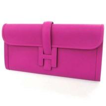 HERMES Jige Elan Veau Swift Rose Purple Clutch Bag Pouch France #A Authe... - $3,109.50