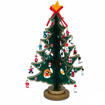 "KSA 11.75"" WOODEN FOLK ART CHRISTMAS TREE w/29 MINI ORNAMENTS TABLE TOP ... - $28.88"