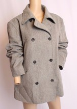J Crew Gray Double Breasted Wool Cashmere Thinsulate Pea Coat Jacket L - $94.99