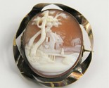 ESTATE Jewelry ANTIQUE VICTORIAN CARVED SHELL CAMEO SCENIC CAMEO BROOCH STERLING