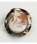 ESTATE Jewelry ANTIQUE VICTORIAN CARVED SHELL CAMEO SCENIC CAMEO BROOCH ... - $125.00