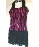 Girl Flapper Dancer Dress Halloween Costume Gatsby Pink Black Size L Seq... - $14.84