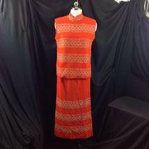 Vtg St John Knits Wiggle Groovy Hostess Sweater Dress Orange Gold Metallic M image 4