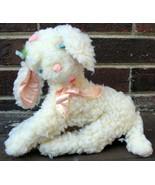 Vtg Clare Lamb Baby Toy Plush White Fleece Pink Satin Ears Felt Flower 5... - $61.19