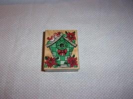 Hero Arts Poinsettia Birdhouse #E1534 Rubber Stamp Wood Mounted 1998 - $6.99