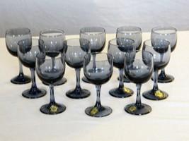 Vintage 12 Licor/Shot Glasses -Smoke Blue Glass -Sasaki Japan- Handcraft... - $64.60