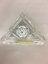 Marquis Waterford Crystal cut Glass desk clock Triangle - $52.59