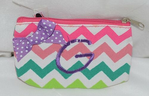GANZ Brand Multi Color Chevron Monogram G Coin Purse With Purple Polka Dot Bow