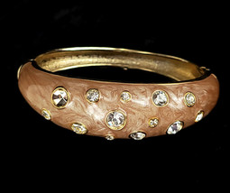 Vintage Gold Tone Blush Pink Enamel Clear Rhinestone Clamper Bangle Brac... - $62.99