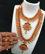 GOLD PLATED LEAF FLOWER DESIGN TEMPLE LONG AND SHORT HARAM NECKLACE JEWE... - $45.53