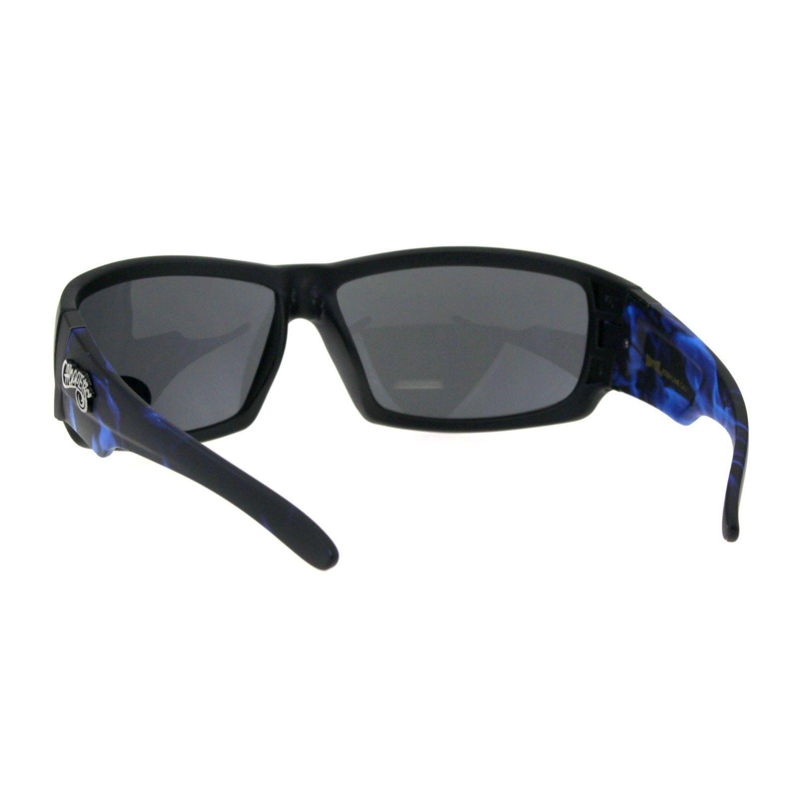 dbbfc9300086 Choppers Sunglasses Mens Biker Fashion Rectangular Flame Design