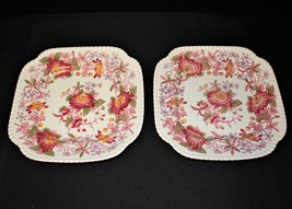 Copeland Spode Aster Gadroon Set of 2 Square Luncheon Plates, England - $55.00