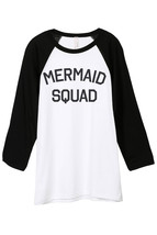 Thread Tank Mermaid Squad Unisex 3/4 Sleeves Baseball Raglan T-Shirt Tee White B - $24.99+