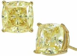 2.50 Ct Fancy Canary Yellow Cushion Diamond Studs Earrings Man Made 14k ... - $148.86