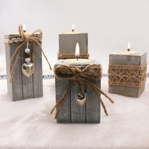 Candle Holder Wedding Romantic Wood Burlap With DIY Decoration Wood Craf... - $12.53+