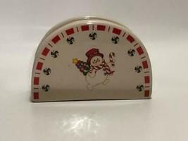 glazed holiday snowman decorative napkin holder - $17.82