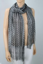 Inc International Concepts Women Zigzag Wrap Scarf Black/silver One Size - $25.62