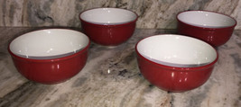 Royal Norfolk RED/WHITE CEREAL/SERVING Bowl Set Of 4-Micro Safe-NEW-RARE-SHIP24H - $46.41