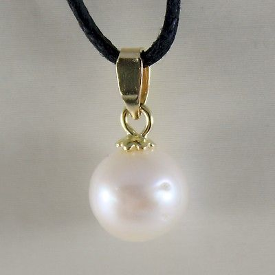 18K YELLOW GOLD PENDANT CHARM WITH ROUND AKOYA WHITE PEARL 8 MM, MADE IN ITALY