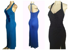 Sleeveless V-Neck Split Side Pleated Chiffon Halter Bridesmaid Gown MULTI S - $12.79