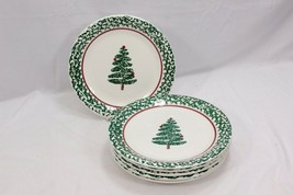 "Furio Xmas Tree Dinner Plates Sponge 10.25"" Set of 12 - $97.51"