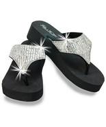 Rhinestone Wedge Flip Flops Sandals Bling Black Gems Thong Fashion Platform - $38.88