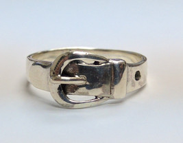 Belt Buckle Fashion Ring in Silver - $20.00