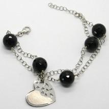 925 STERLING SILVER BRACELET BIG FACETED BLACK ONYX BALLS & SATIN HEART PENDANT image 1