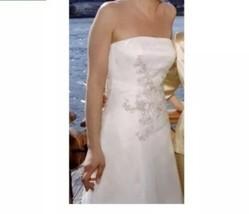 Vera Wang 6 Ivory Strapless Silk Satin Silver Beading Wedding Gown Train... - $1,039.50