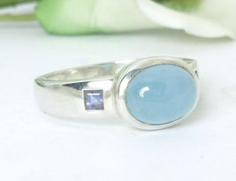 Sterling Azure Jadeite and Iolite Ring Size 7 - $59.00