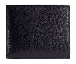 8960-1 COACH COMPACT WALLET IN CROSSGRAIN LEATHER BLACK $175 - $64.34