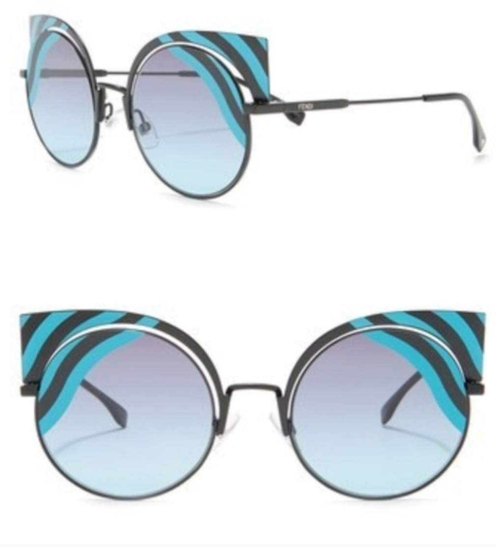 Primary image for Fendi 53mm Cat Eye Sunglasses Fendi Hypnoshine Matte Metal Cat-Eye Turquoise