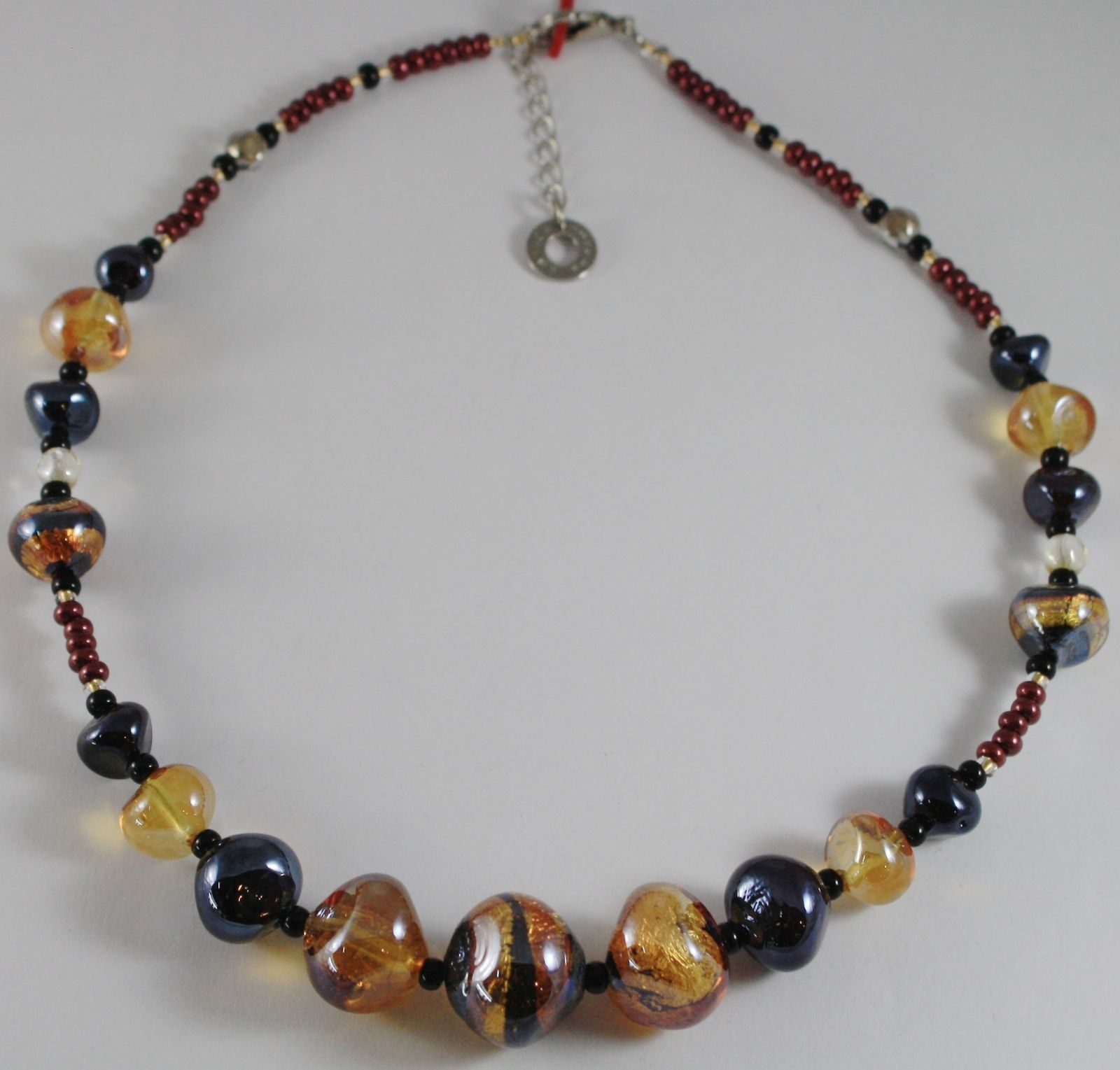 NECKLACE ANTICA MURRINA VENEZIA WITH MURANO GLASS BEIGE BROWN AMBER CO984A10