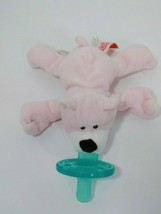 Pink Teddy Bear Wubbanub Plush Toy  Pacifier Mary Meyer white snout brown nose - $9.89