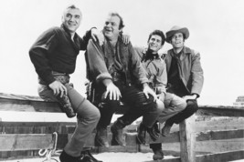 Bonanza B&W Cast Sitting On Ranch Fence 18x24 Poster - $23.99