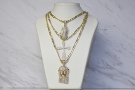 Womens 2 Sided Fancy Gold Cross With Gold Chain Necklace Choose Length - $14.69