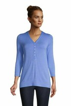 Lands' End Women's Super Soft 3/4 Slv Henley Top Chicory Blue Stripe L N... - $21.76