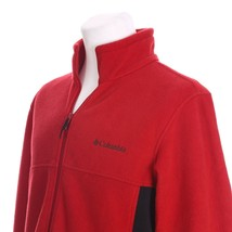 Columbia Full Zipper Red Black Soft Fleece Jacket Sweater Mens Medium Dr... - $28.60