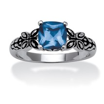 Birthstone Antiqued .925 Silver Butterfly Ring-March-Simulated Aquamarine - $28.82