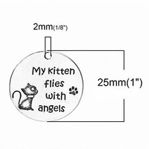 Cat Memorial 25mm Antiqued Silver Plated Pet Loss Charms 5 PCs - $14.85