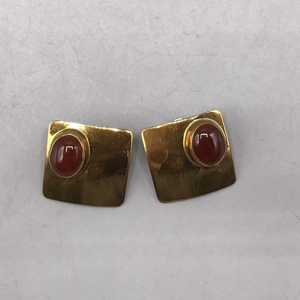 Primary image for Vintage Ken Gastineau Signed Gold Tone Clip On Earrings Jewelry Mid Century