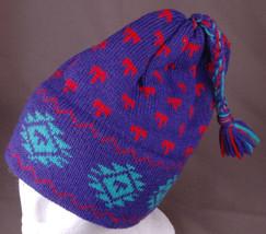 Vtg Tecnica Winter Hat-100% Wool-Purple-Toque-Benie-Braided Tassle-Acryl... - $28.04