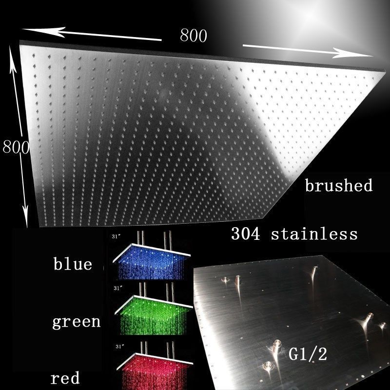 "Primary image for 31"" LED Multicolor Ceiling Mount Showerhead, Brushed Stainless Steel - Square"