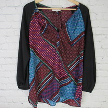 Calvin Klein Blouse Shirt Top Womens XL Black Red Multicolor D33 - $27.84