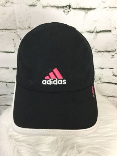 Adidas Strap Back Hat Cap Black Pink White Moisture Wicking