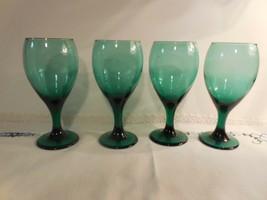 "2 Libbey Gold-trimmed Evergreen 6 7/8""  Wine/Water Stemmed Glasses  - $1.97"